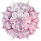 Burgundy Blush Watercolor Mandala by micklyn