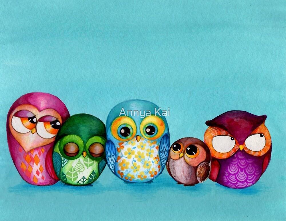 Fabric Owl Family by Annya Kai