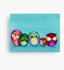 Fabric Owl Family Canvas Print
