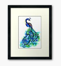 Peacock Watercolor Framed Print