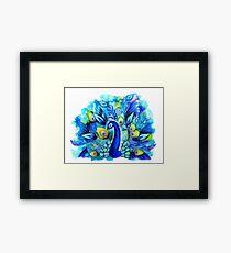 Peacock in Full Bloom Gerahmtes Wandbild
