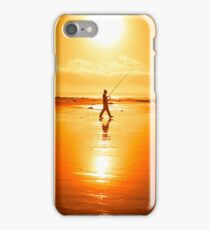lone fisherman fishing on the Kerry beach iPhone Case/Skin