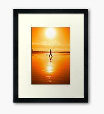 lone fisherman fishing on the Kerry beach Framed Print