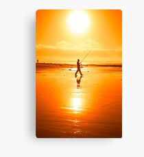 lone fisherman fishing on the Kerry beach Canvas Print