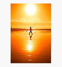 lone fisherman fishing on the Kerry beach Photographic Print