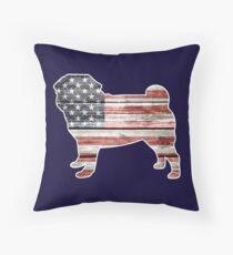 Patriotic Pug Throw Pillow