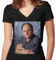George Costanza Portrait Seinfeld Women's Fitted V-Neck T-Shirt