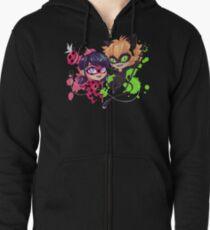 Chibi Time! Ladybug & Cat Noir Zipped Hoodie