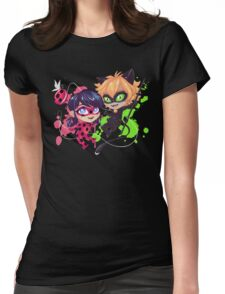 Chibi Time! Ladybug & Cat Noir Womens Fitted T-Shirt