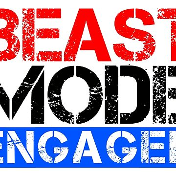 Beast Mode Engaged - Gym Phrase (Multicoloured) by RedTees