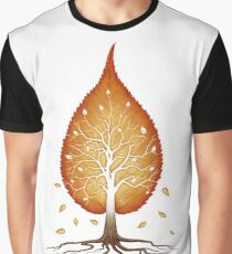 Red leaf shaped tree nature fractals concept art photo print Graphic T-Shirt