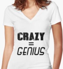 CRAZY = GENIUS Women's Fitted V-Neck T-Shirt