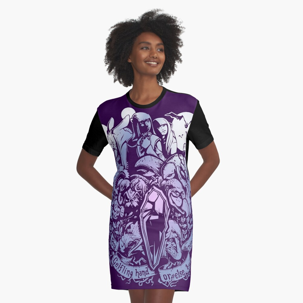 Sundered and Undone Graphic T-Shirt Dress Front