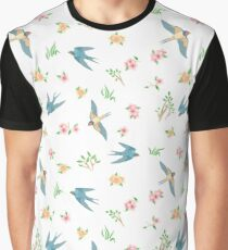 Seamless pattern with spring birds and flowers Graphic T-Shirt