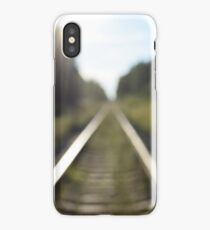 railway tracks through the forest iPhone Case/Skin