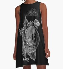 Dotwork Crystal Squirrel and the Acorn A-Line Dress