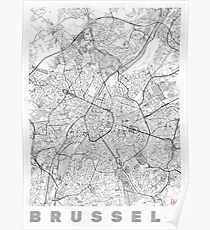 Brussels Map Line Poster