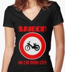 SAIGON Women's Fitted V-Neck T-Shirt