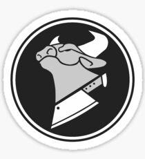 Cow Chop B&W Sticker