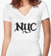 Camiseta entallada de cuello en V Nueva York