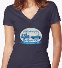 Exploring the Local Life Blue Truck and Camper Women's Fitted V-Neck T-Shirt