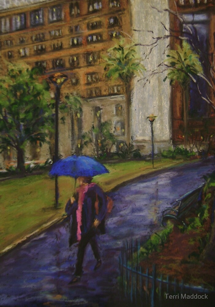 The blue umbrella by Terri Maddock