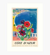 1947 Cote d'Azur French Riviera Vintage World Travel Poster Art Print