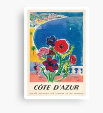 1947 Cote d'Azur French Riviera Vintage World Travel Poster Canvas Print