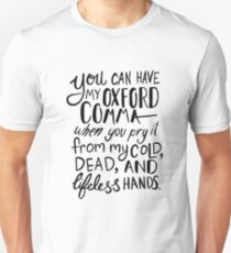 Oxford Comma Grammar Joke - Black Lettering T-Shirt