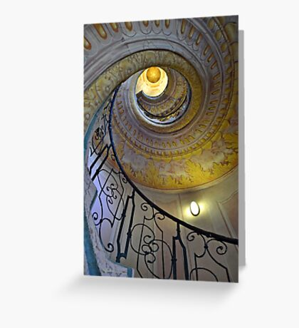 Looking upwards on the staircase  Greeting Card