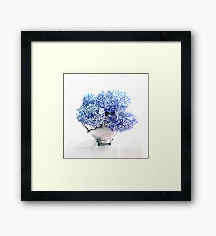 Endless Summer Hydrangeas in an Antique Silver Pitcher Framed Print