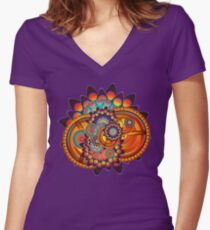 Colorful Trippy Funky Abstract Jazz Pattern Women's Fitted V-Neck T-Shirt