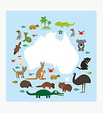 Australian White Map and Animals Photographic Print