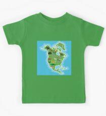 Northern America Animal Map Green Kids Tee