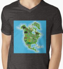 Northern America Animal Map Green Mens V-Neck T-Shirt