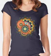 Happy Colorful Psychedelic Cool Funky Pattern Women's Fitted Scoop T-Shirt
