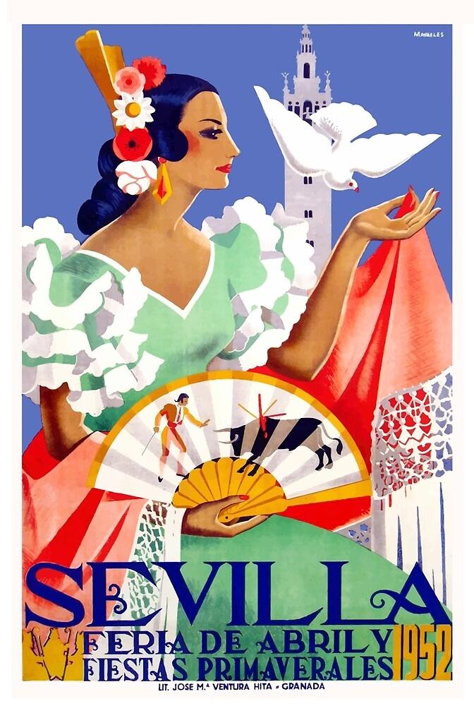 1952 Seville Spain April Fair Poster by retrographics