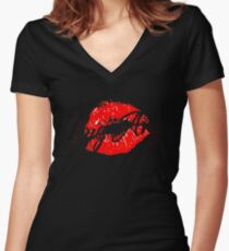 big ang kiss Women's Fitted V-Neck T-Shirt