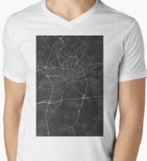Frankfurt, Germany Map. (White on black) Men's V-Neck T-Shirt