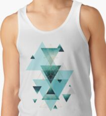 Geometric Triangle Compilation in teal, aqua and rose gold Tank Top