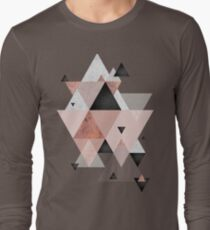Geometric Compilation in Rose Gold and Blush Pink Long Sleeve T-Shirt
