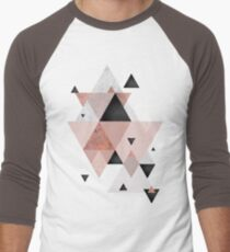 Geometric Compilation in Rose Gold and Blush Pink Men's Baseball ¾ T-Shirt