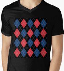 ARGYLE RED AND BLUE Men's V-Neck T-Shirt