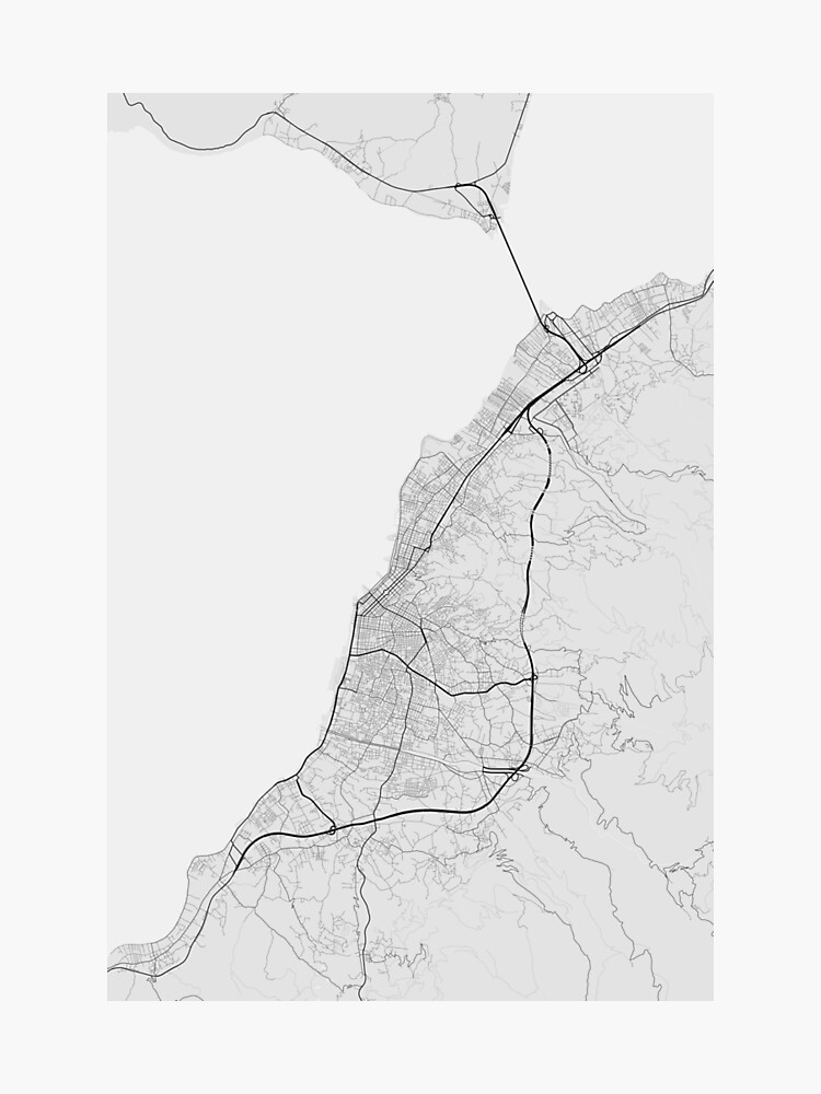 Patras, Greece Map. (Black on white)\