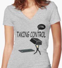Taking Ctrl Women's Fitted V-Neck T-Shirt