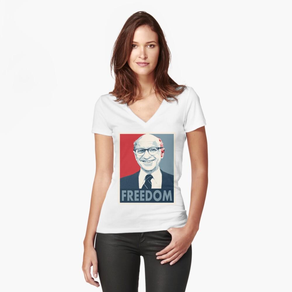 Milton Friedman Tailliertes T-Shirt mit V-Ausschnitt