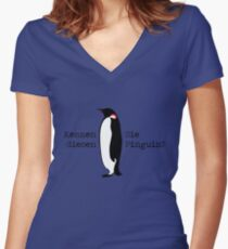Do you know this penguin? Women's Fitted V-Neck T-Shirt