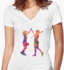 women playing softball 01 Women's Fitted V-Neck T-Shirt