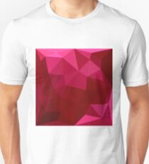 Firebrick Red Abstract Low Polygon Background Slim Fit T-Shirt