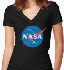 Nasa X Wing Fighter Women's Fitted V-Neck T-Shirt